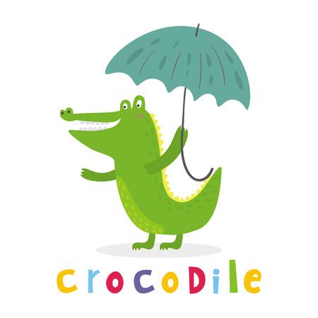 Cheerful Crocodile With An Umbrella Printable Templates Stock Vector