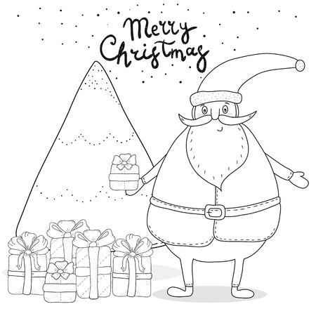 christmas coloring page with santa claus christmas tree gift boxes stock vector 67966934