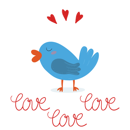Love. Vector illustration with cute bird. Valentines day