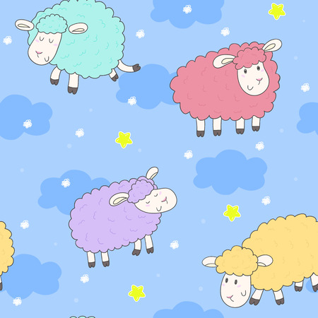 enjoyable: Cute seamless pattern with funny sheep. vector illustration.