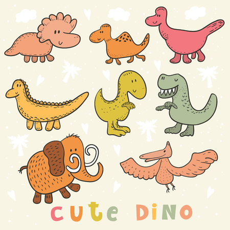 pterodactyl: Cute hand drawn dinosaurs set. vector print.