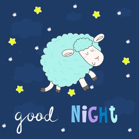 enjoyable: Good night card. Cute hand drawn sheep in cartoon style. vector print.