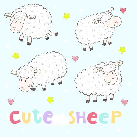 enjoyable: Cute hand drawn sheeps set in cartoon style. vector print.