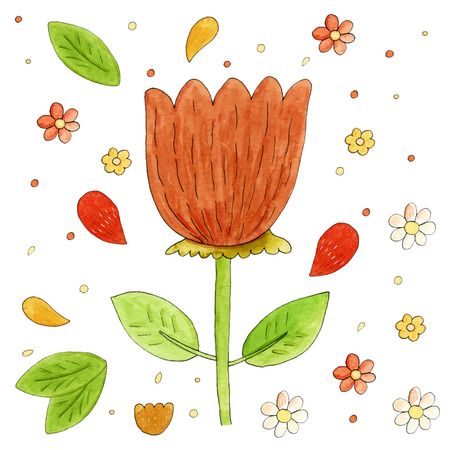 watercolor technique: Colorful floral vector collection with leaves and flowers. Hand drawn illustration made in watercolor technique.