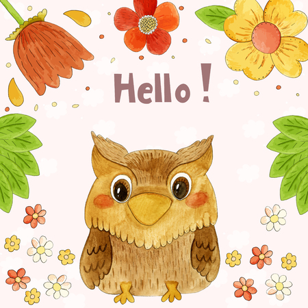 watercolor technique: Cute kids illustration with owl. Hand drawn illustration made in watercolor technique