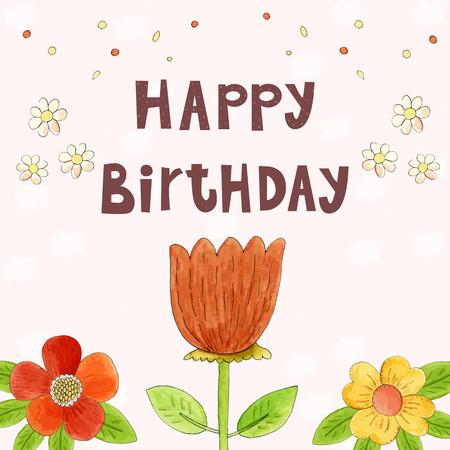 watercolor technique: Hand drawn happy birthday card with flowers in watercolor technique
