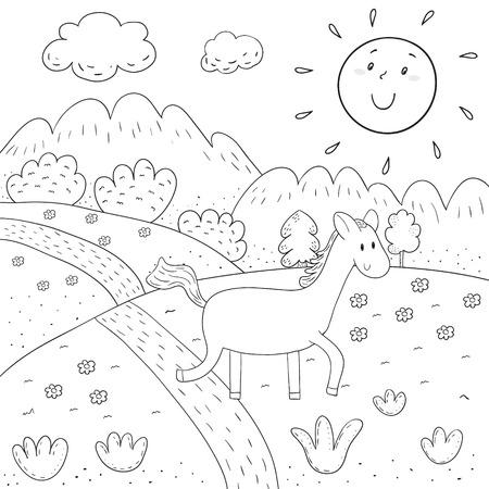 Libro Para Colorear Caballo, Prado Soleado, Montañas, Diseño De ...