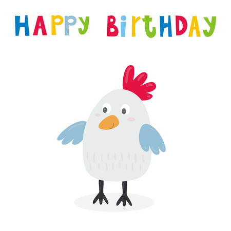 happy birthday card with cute chicken cartoon character, vector illustration