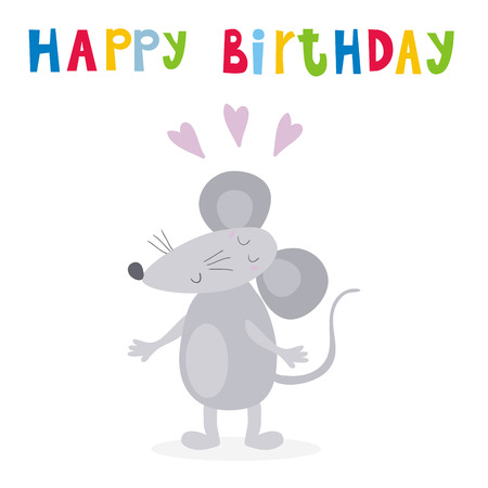 Happy Birthday Card With Funny Cute Mouse Cartoon Style Vector