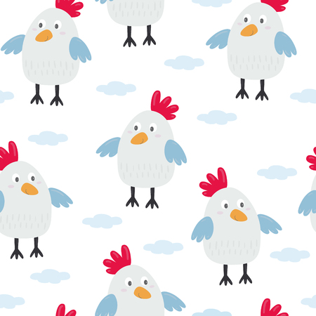 kids seamless pattern with chickens. Vector illustration