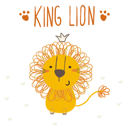 lion tail: funny cute lion cartoon style. Illustration