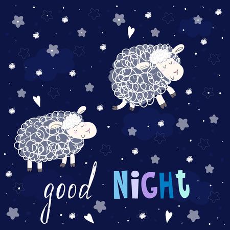 enjoyable: Good night card. Cute hand drawn sheeps in cartoon style. vector print. Illustration