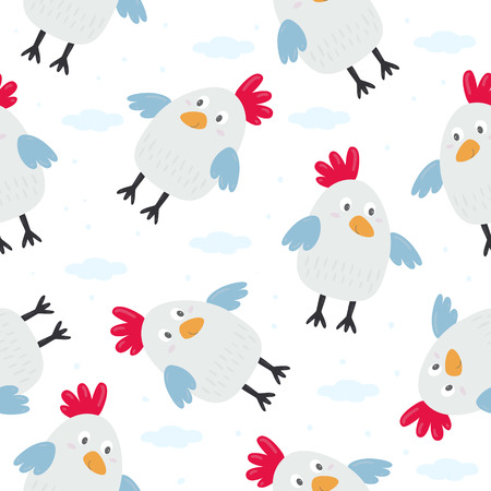 kids seamless pattern with chickens. Vector illustration.