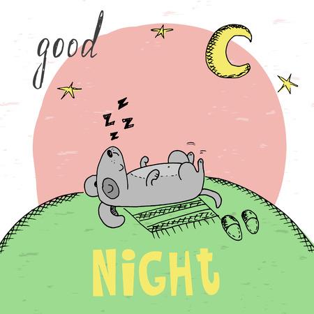 The lovely animation dog sleeps. Good night card.