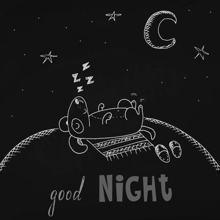toss: The lovely animation dog sleeps on black background. Good night card.