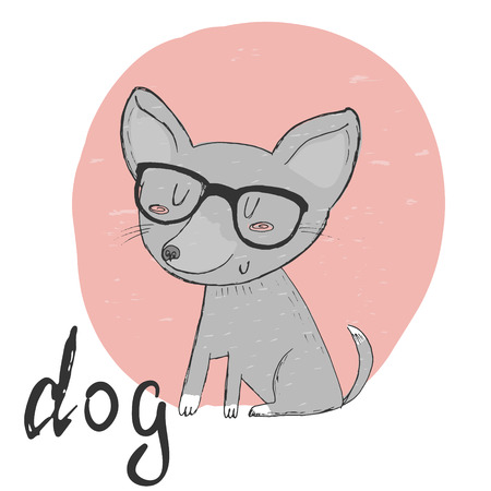 spectacled: Small, cute puppy spectacled sketch doodle. Vector illustration Illustration