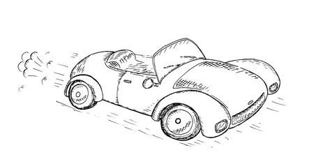 Hand Drawn Sketch car, Vector Illustration.