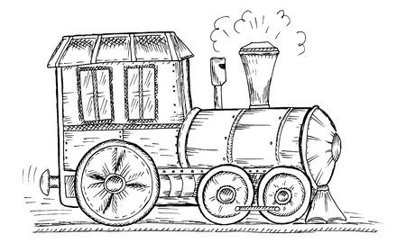 Hand Drawn Sketch train Vector Illustration. Vector Illustration