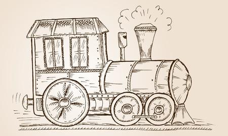steam iron: Hand Drawn Sketch train Vector Illustration.