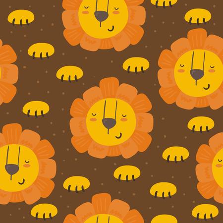 Cute little lion cartoon style. Vector pattern.