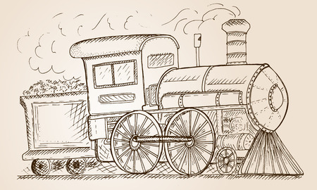 puffing: Hand Drawn Sketch train Vector Illustration.