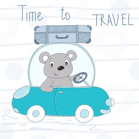 cute teddi bear on the road vector illustration.