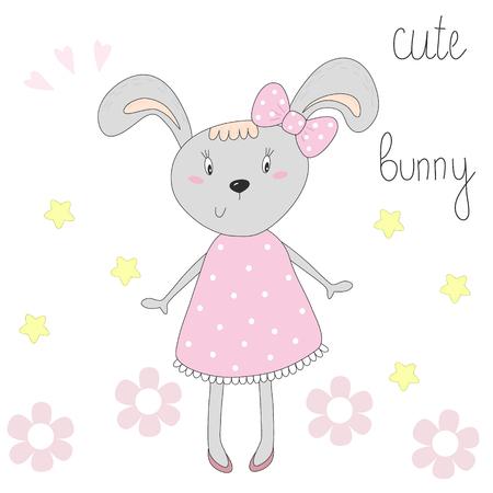 rabbit standing: cute bunny in a pink dress vector illustration. Illustration