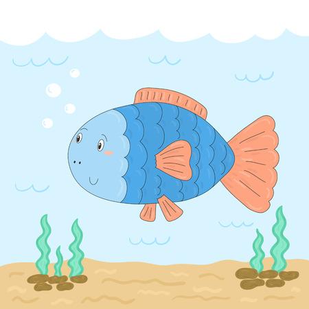 Cute hand drawn fish under water. vector print.
