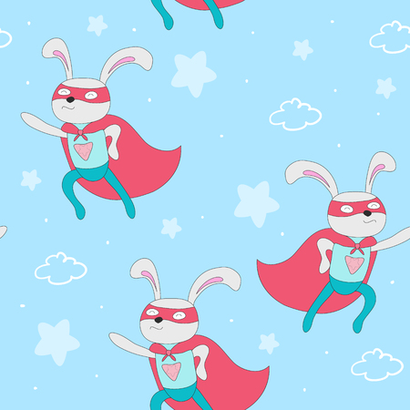 Hand drawn vector pattern with superhero rabbit animal vector illustration.