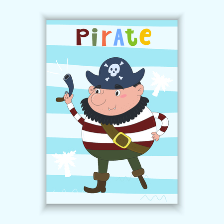 ship steering wheel: Cute hand drawn vector card with funny pirate. Printable template