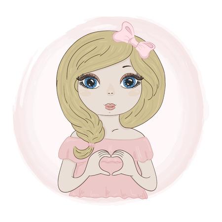 Hand Drawn cute Beautiful romantic girl. vector print.