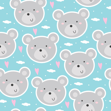 Cute seamless pattern with funny teddy bear. vector illustration.
