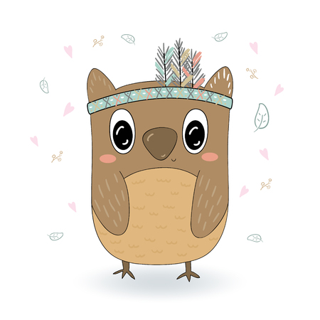 Hand drawn illustration with Cute vector owl. Illustration