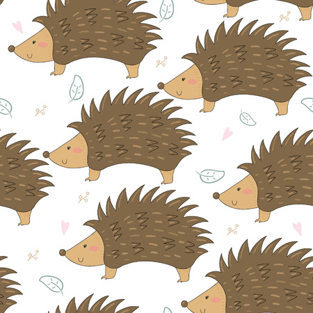 funny baby: Hand Drawn seamless cute hedgehog pattern vector illustration
