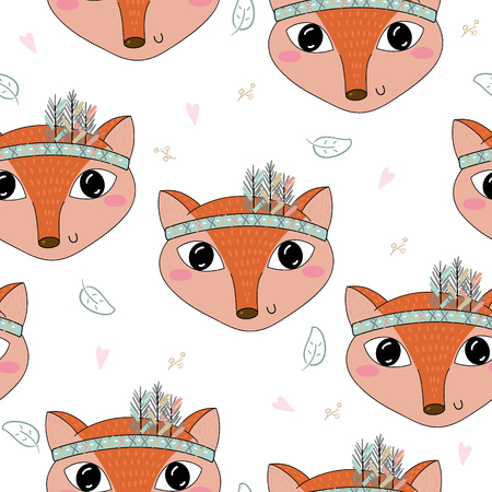 anthropomorphism: Hand drawn vector Cute seamless pattern with Cute Fox.