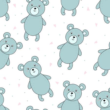 cute bear: Cute seamless pattern with funny teddy bear. vector illustration