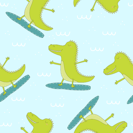 Seamless pattern with cute surf crocodile. vector print.
