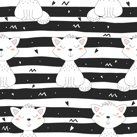 grey cat: Cute hand drawn cats colorful seamless pattern background.