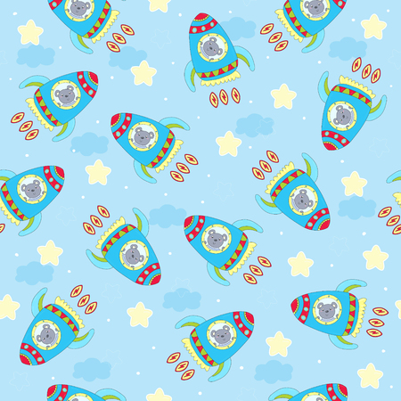 hand drawn Sample pattern with cute Rocket and bear vector illustration