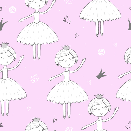 fiery: Cute hand drawn with cute little girl vector seamless pattern illustration