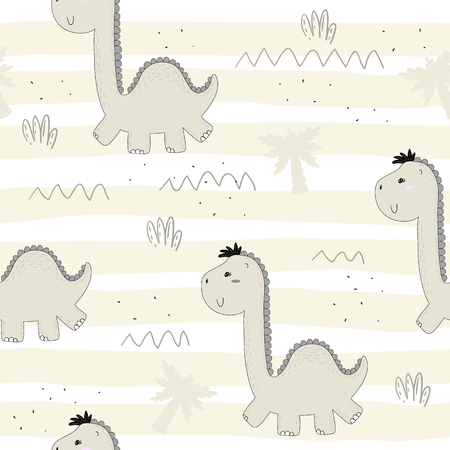 baby: Cute seamless pattern with funny dinosaurs. vector illustration