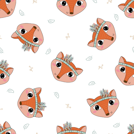 anthropomorphism: Hand drawn vector Cute seamless pattern with Fox. Illustration