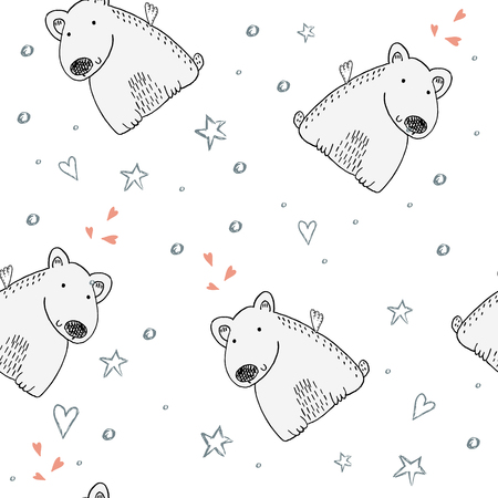 Cute seamless pattern with funny teddy bear, vector illustration