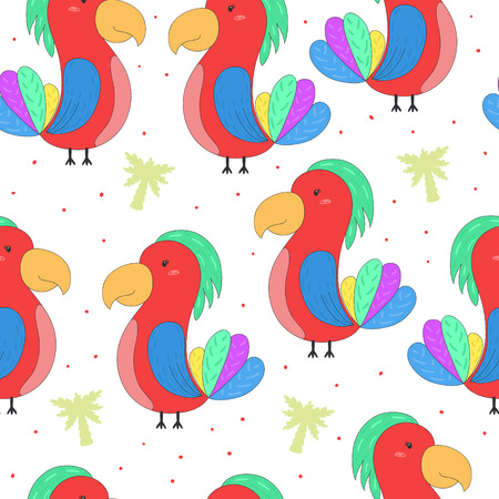 seamless hand drawn parrot pattern vector illustration.