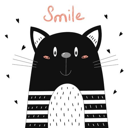 手描きかわいい面白い漫画ベクトル猫プリント。  イラスト・ベクター素材