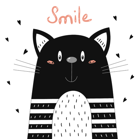 Hand Drawn cute Funny Cartoon vector cat print.