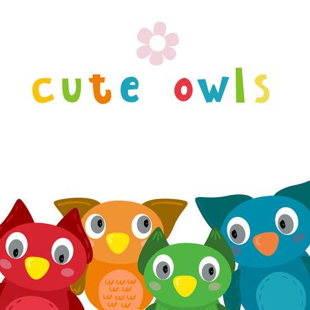 Cute Vector owls in cartoon style vector print. Illustration