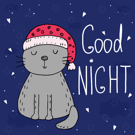 Good night vector card with cute Funny Cartoon cat Illustration