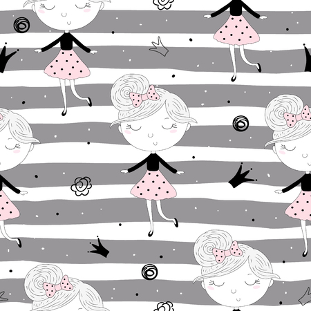 Cute hand drawn with cute little girl pattern illustration.
