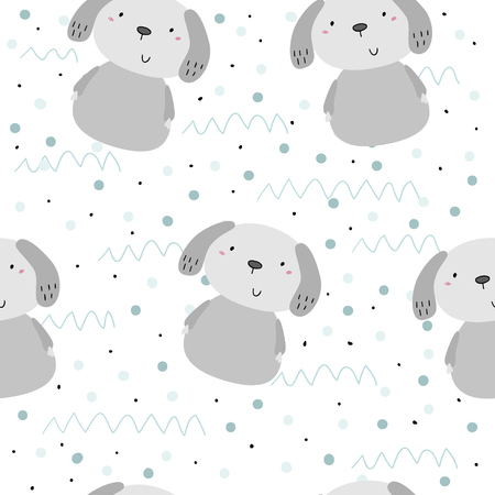 Seamless pattern with cute little dog. vector illustration. Illustration